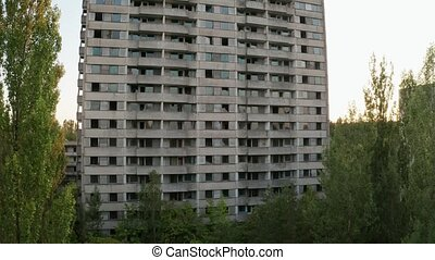 Drone view of empty high-rise building in Pripyat -...