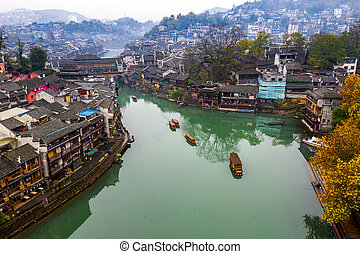 Drone view of Fenghuang ancient town in Hunan province, China