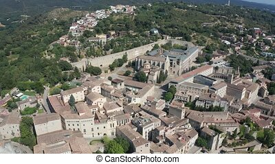 Drone view of Girona with Cathedral of Santa Maria - Drone...