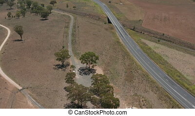 Drone view of outback road Australia - Australian outback...