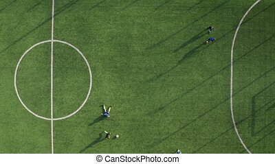Drone view of skillful soccer forward scoring goal - Aerial ...