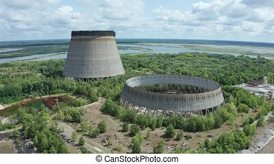 Drone view of two giant cooling towers, Chernobyl - Aerial...