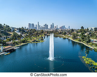 Picture shows a drone view on the Echo Park and the Skyline of Los Angeles