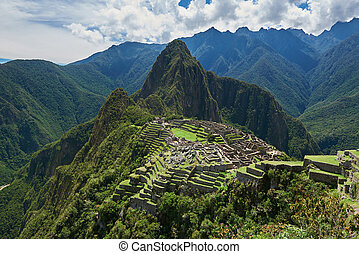 Drone view on ancient city Machu Picchu. Panorama view of Machu Picchu