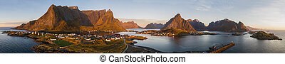 Picture shows a drone view on Reine, Lofoten