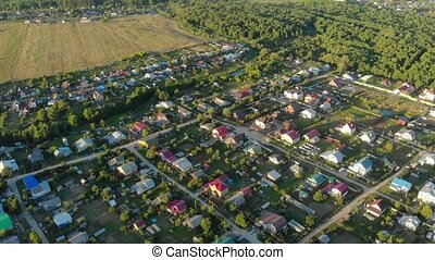 Drone view shows streets and houses in this rural town in ...