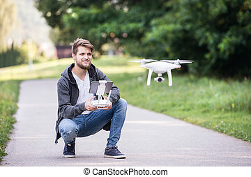 drone., vuelo, soleado, joven, verde, hipster, nature.,...