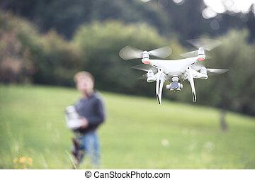 drone., vuelo, soleado, unrecognizable, verde, nature.,...