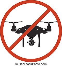 Drone Warning Icon Silhouette Prohibit Air Vector Design Illustration