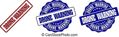 DRONE WARNING Scratched Stamp Seals