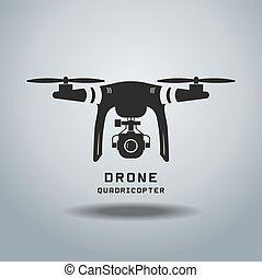 drone with action camera, logo vector