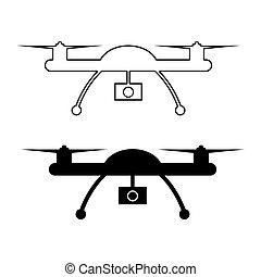 Drone with action camera, quadrocopter icon. Vector ...