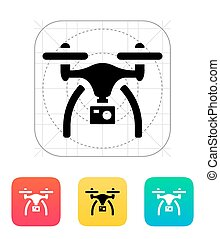Drone with camera icon. Vector illustration.