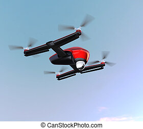 Drone with camera in the sky