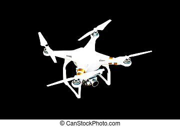 Drone with camera isolated on black background