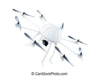 Drone with camera isolated on white background. 3d rendering