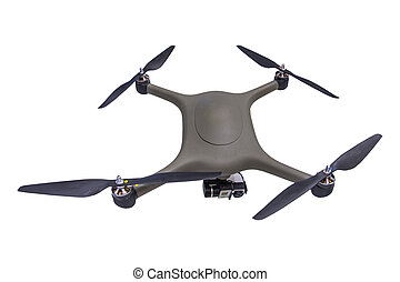 Drone with camera isolated on white background.