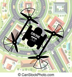 Drone with City Below. Top View Town with Camera on...