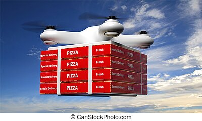 Drone with delivery pizza box on blue sky background
