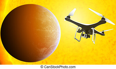 Drone with digital camera flying in front of the sun