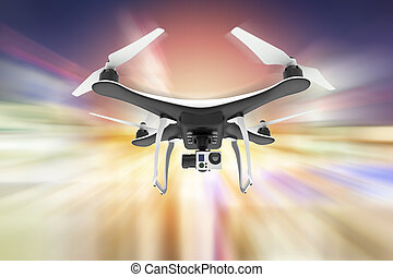 Drone with digital camera flying over an abstract colorful background
