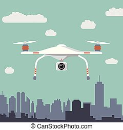 Drone with photo camera. Flat design.