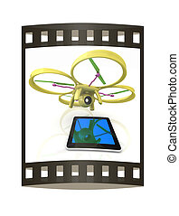 Drone with tablet pc. The film strip