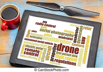 drone word cloud on digital tablet