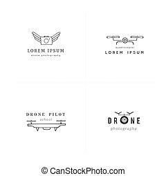 drones., カメラ, 手, templates., ベクトル, 引かれる, photography., セット, ...