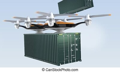 Heavy drones delivering cargo containers in sky