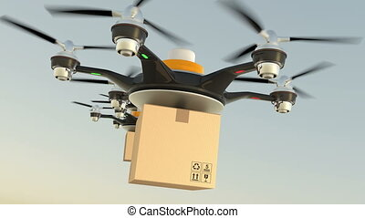 Hexacopter drones delivery cardboard packages in formation