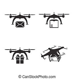Drones delivery icons