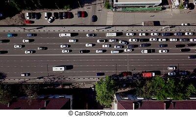 Drone's Eye View - Birds eye view of urban traffic jam -...