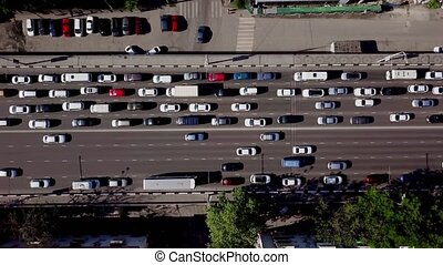 Drone's Eye View - View from above of urban traffic jam -...