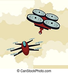 Drones flying in the sky