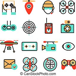 Drones Icon Set - Drones and quadrocopters unmanned...