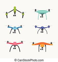 Drones set - Set of modern air drones. Flat cartoon vector...