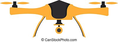 Drones with action camera. Flat design. Drone quadrocopter....