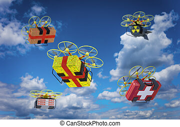 Drones with various cargoes