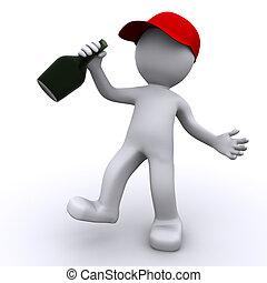 dronken, 3d, karakter, met, groene, fles