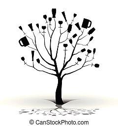 dronken, tree-silhouette
