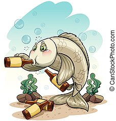dronken, visje, onder, de, zee
