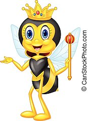 dronning, cartoon, bi, aflægger
