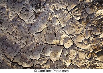 droog, aarde, gebarsten, vuil