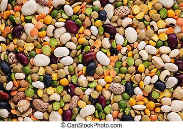 droog, bonen, en, erwtjes