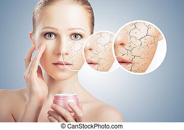 droog, concept, jonge, gezicht, effecte, vrouw, cosmetische behandeling, huid, care.