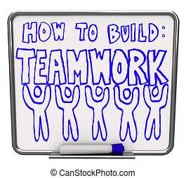 droog, -, hoe, raderen, teamwork, bouwen, plank