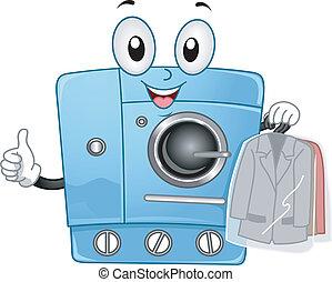 droog, machine, schoonmaken, mascotte