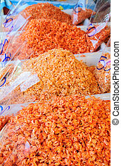 droog, markt, garnalen