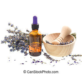 droog, olie, vijzel, lavendel, kruiden, bloemen